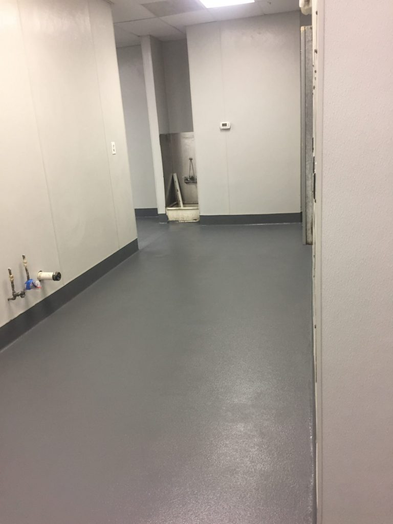 hall with floor basin after